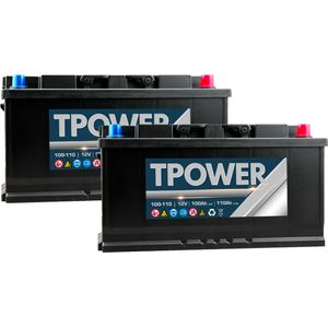 Pair of 100Ah TPower Leisure Battery 100Ah C20 / 110Ah C100