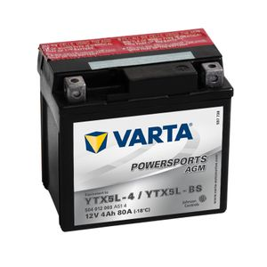 504 012 003 Varta Powersports AGM Motorcycle Battery - Replaces YTX5L-BS