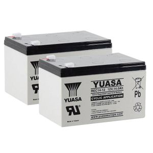 Pair of Yuasa REC14-12 Cyclic VRLA Battery 12V 14Ah