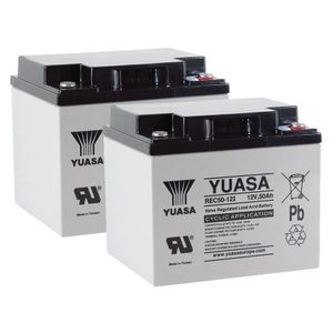 Pair of Yuasa REC50-12 12V AGM Cyclic Deep Cycle Batteries