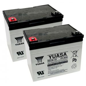 Pair of Yuasa REC36-12 12V AGM Cyclic Deep Cycle Batteries