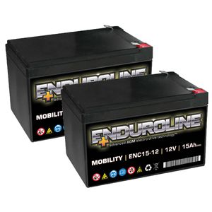 Pair of ENC15-12 Enduroline Mobility Batteries 12V 15Ah