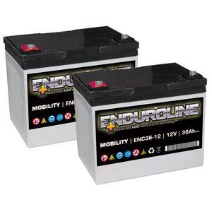 Pair of ENC36-12 Enduroline Mobility Batteries 12V 36Ah