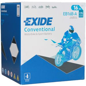 Exide EB16B-A 12V Conventional Motorcycle Battery