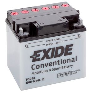 Exide E60-N30L-B 12V Conventional Motorcycle Battery