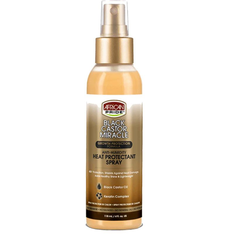 African Pride Black Castor Miracle Anti-humidity Heat Protectant Spray - 4oz