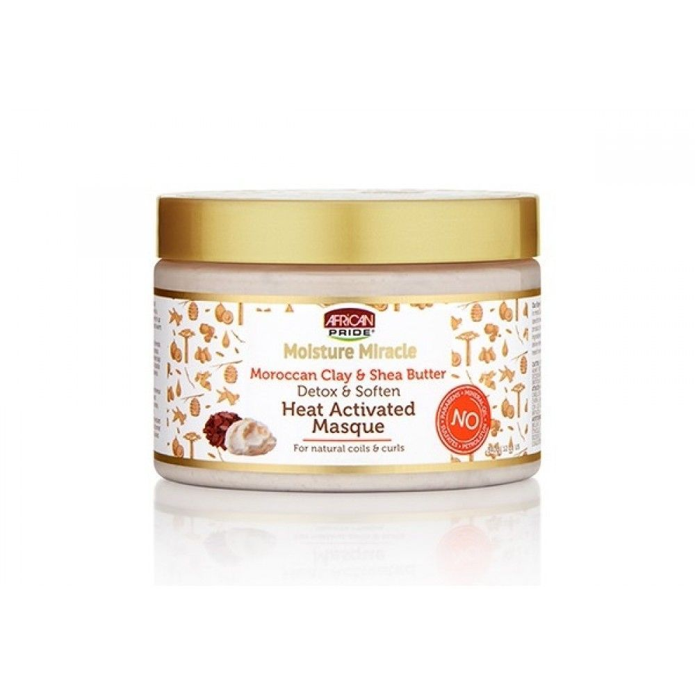 African Pride Moisture Miracle Moroccan Clay & Shea Butter Heat Activated Masque - 12oz