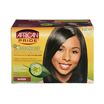 African Pride Olive Miracle Deep Conditioning Anti-Breakage No-lye Relaxer - 1app,Super