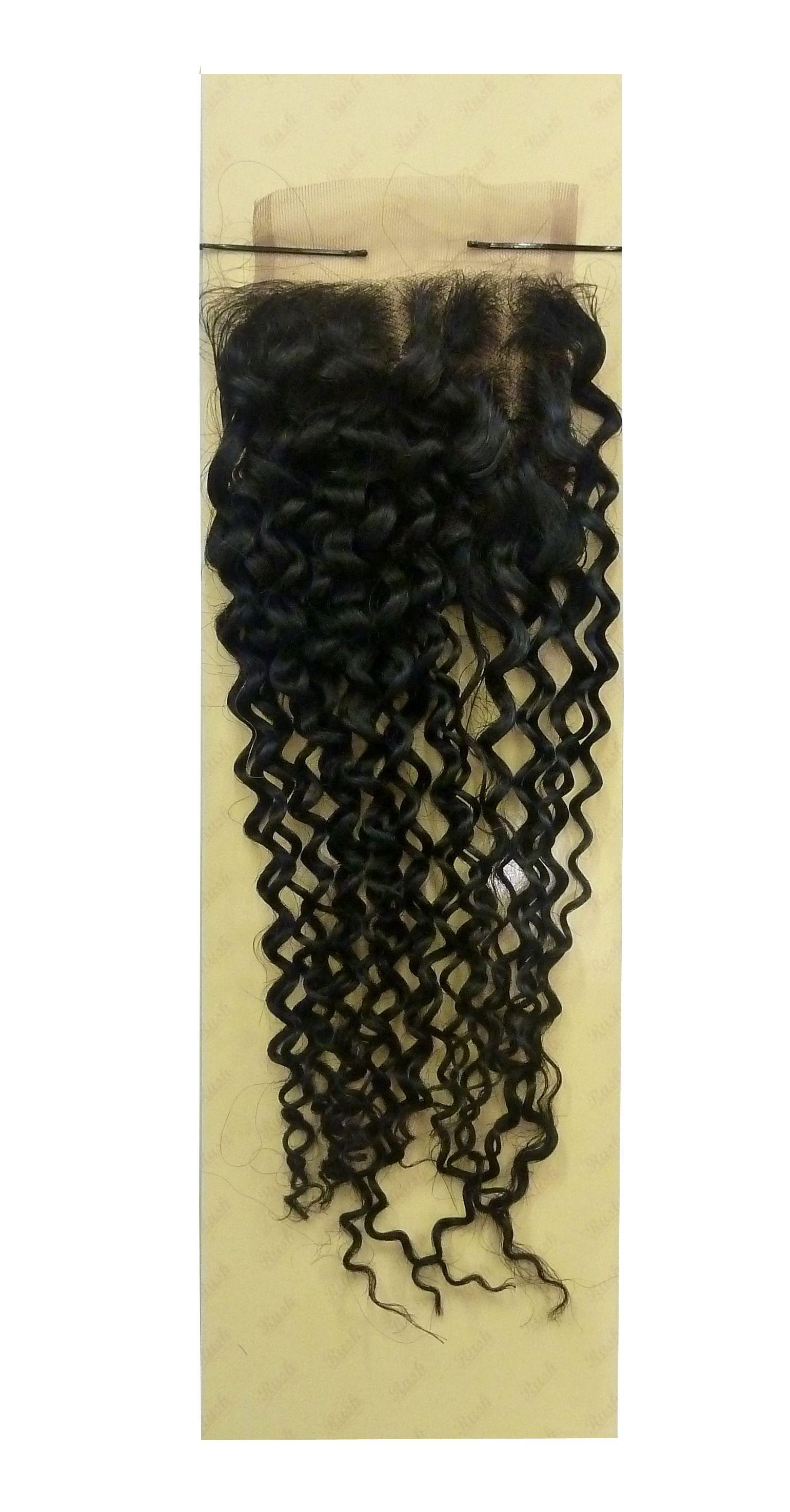 "Rush Brazilian Temptation Closure Jerry Curl Weave 4 X 4 - Natural,12"""