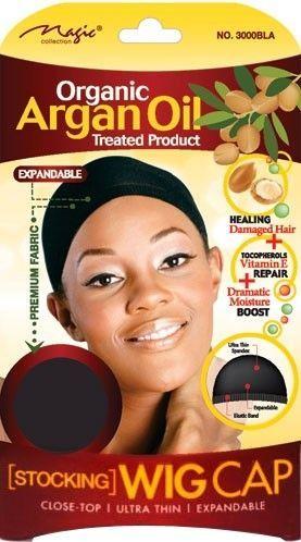 Magic Collection Women's Organic Argan Oil Treated Wig Cap Black - 3000bla