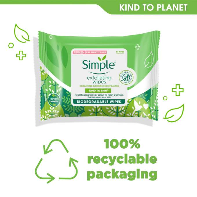 Simple Kind to Skin Exfoliating Facial Wipes - 20 Wipes