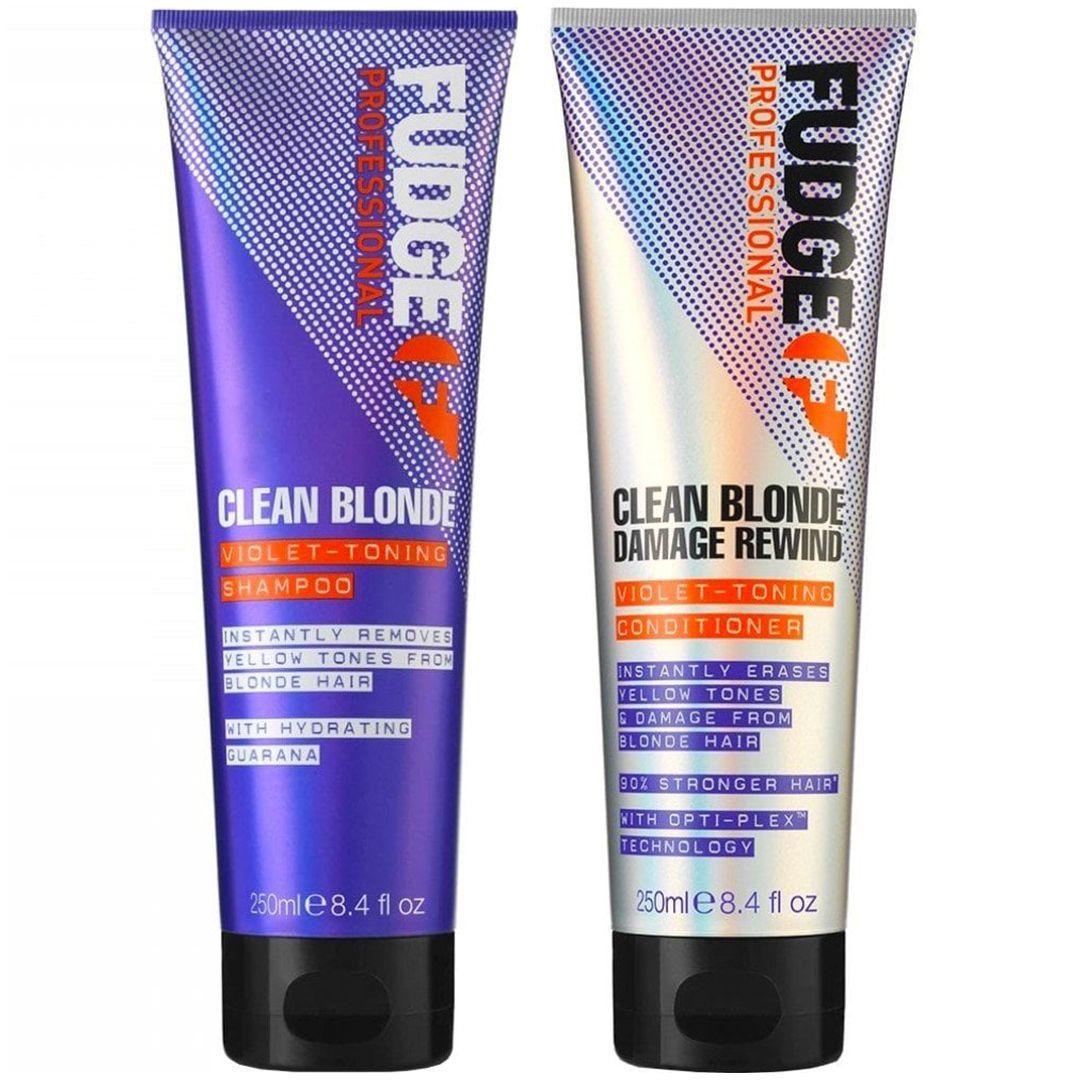Fudge Clean Blonde Damage Rewind Violet Toning Shampoo & Conditioner - 250ml