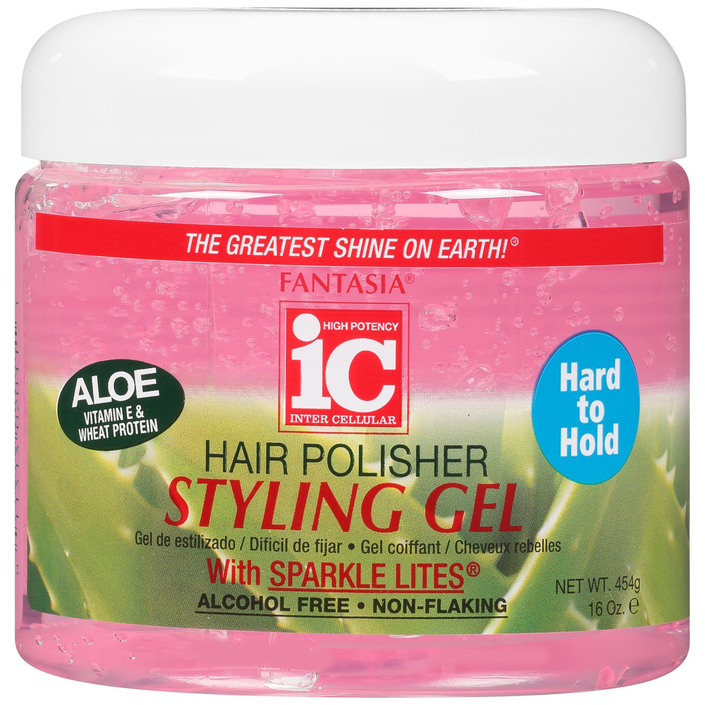 IC Fantasia Hair Polisher Styling Gel With Sparkle Lites - Pink,16oz