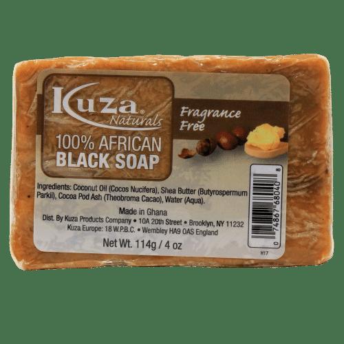 Kuza 100% African Black Soap - fragrance Free - 4oz