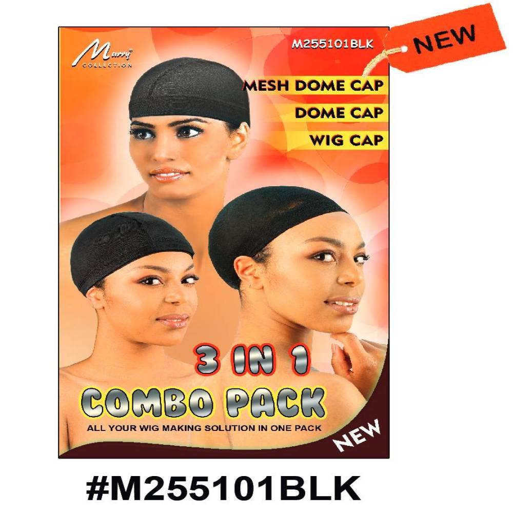 Murry 3 In 1 Combo - mesh Dome Cap, Dome Cap, Wig Cap Black - M255101blk