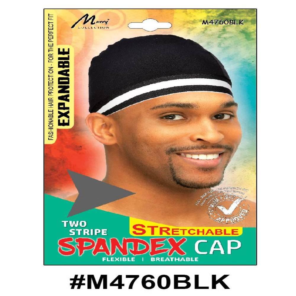 Murry Two Strip Spandex Cap Black - M4760blk