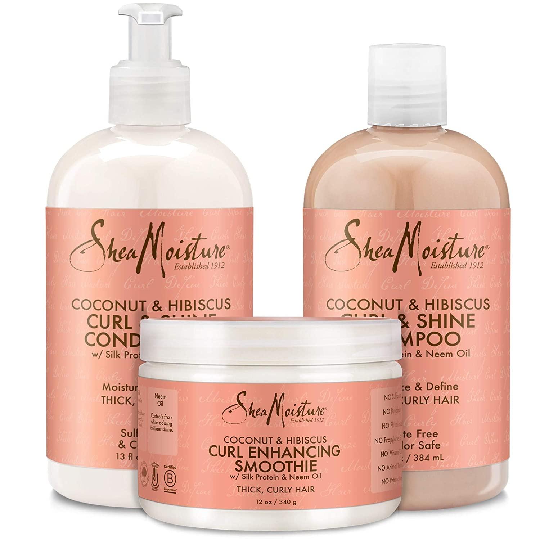Shea Moisture Coconut & Hibiscus Curl & Shine Shampoo + Conditioner + Smoothie 13oz,13oz,12oz