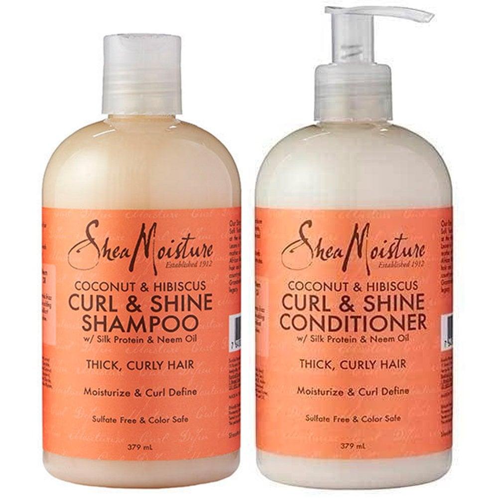 Shea Moisture Coconut & Hibiscus Curl & Shine Shampoo & Conditioner Duo Pack - 13oz