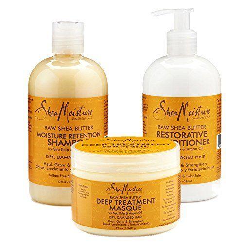 Shea Moisture Raw Shea Butter Moisture Retention Shampoo + Conditioner + Masque 13oz,13oz,12oz