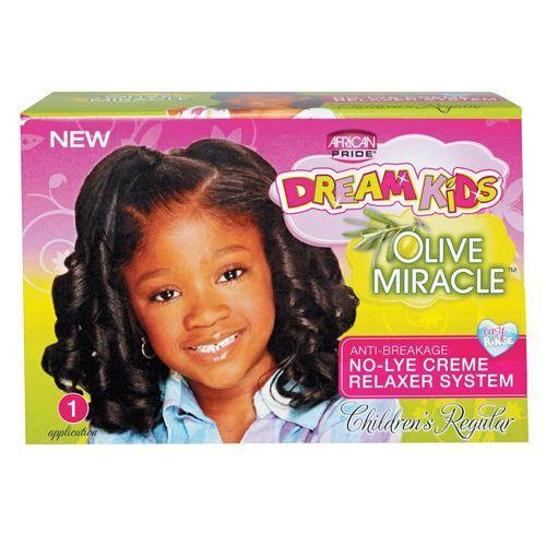 African Pride Dream Kids Olive Miracle No-Lye Creme Relaxer Regular Kit