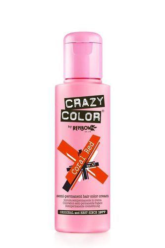 Crazy Color Semi Permanent Hair Color Cream - Coral Red