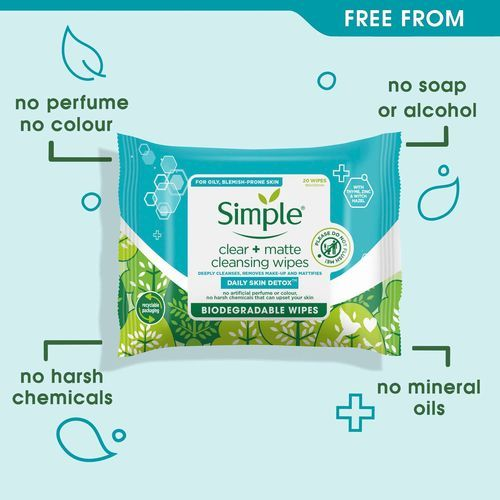 Simple Daily Skin Detox Biodegradable Matte & Clear Wipes - 20 Wipes