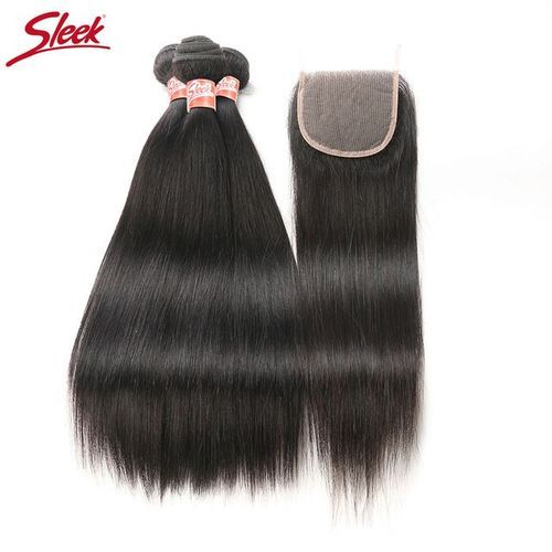 "Sleek Brazilian Natural Straight Closure 4'' X 2'' - Natural Black,14"""