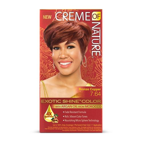 Creme Of Nature Exotic Shine Permanent Hair Colour With Argan Oil - Bronze Copper,7.64