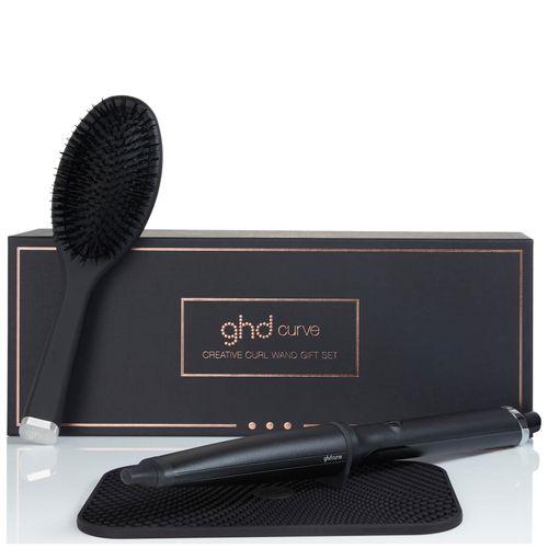 ghd Curve Creative Curl Wand Gift Set + Oval Brush & Heat Mat - Black