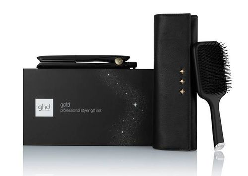 Ghd Gold Hair Straightener & Paddle Brush Gift Set - Black