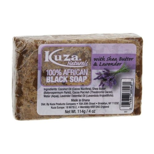 Kuza 100% African Black Soap With Shea Butter & Lavender - 4oz