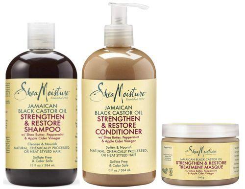 Shea Moisture Jamaican Black Castor Oil Strengthen, Grow & Restore Shampoo + Conditioner + Leave-In Conditioner 13oz, 13oz, 11oz