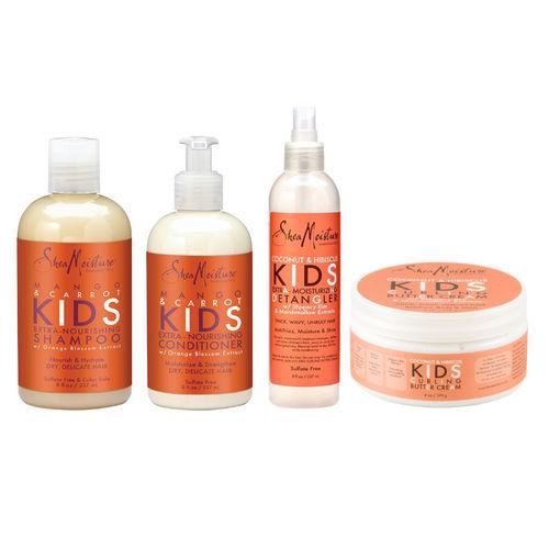 Shea Moisture Kids Extra-nourishing Shampoo + Conditioner + Detangler + Cream 8oz, 8oz, 8oz, 6oz