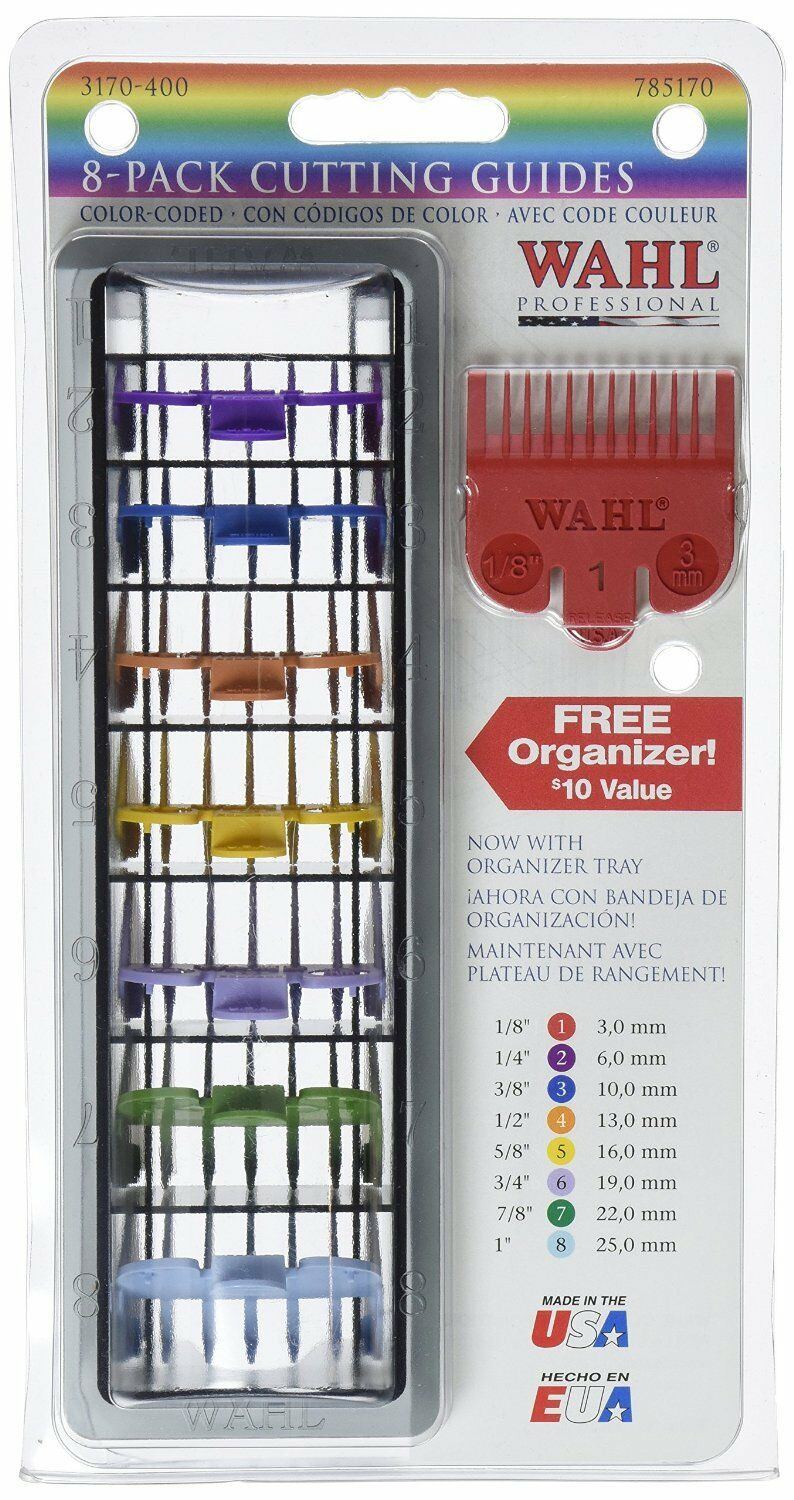 Wahl Colour Coded Hair Cutting Guides - 8 Packs