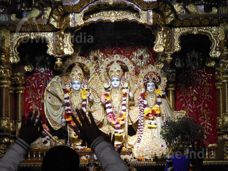 Idols of Sita, Ram, Laxman and Hanuman at the ISKCON temple