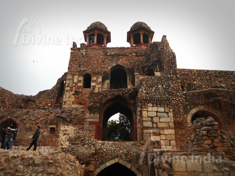 Built in red sandstone Humayun Gate (Southern Ramparts) from inside, Purana Qila