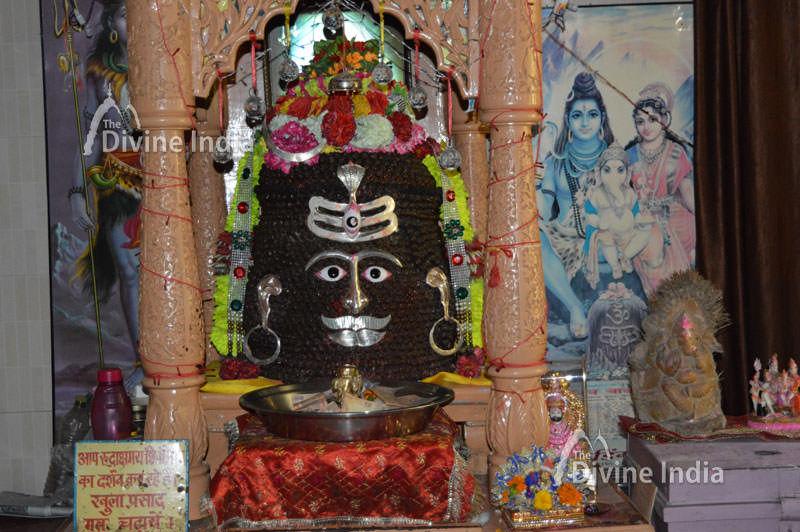Tapkeshwar Mahadev is decorated with Rudraksha