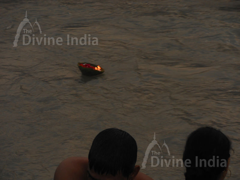 Deepak offering to the ganges river at sunrise and sunset in respect of mother goddess ganges