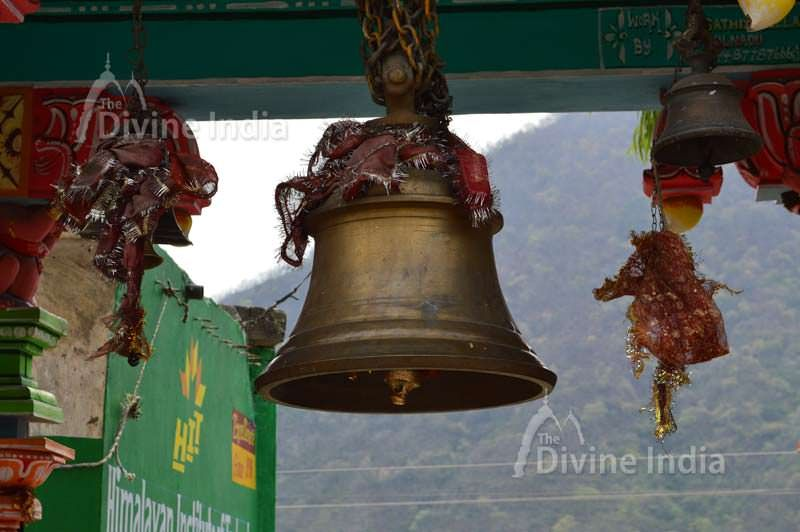 Hanging bell of entry gate at dhari devi temple