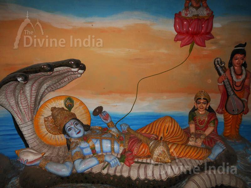 Lord Vishnu and Laxmi Sculpture at Moksha Dham Temple