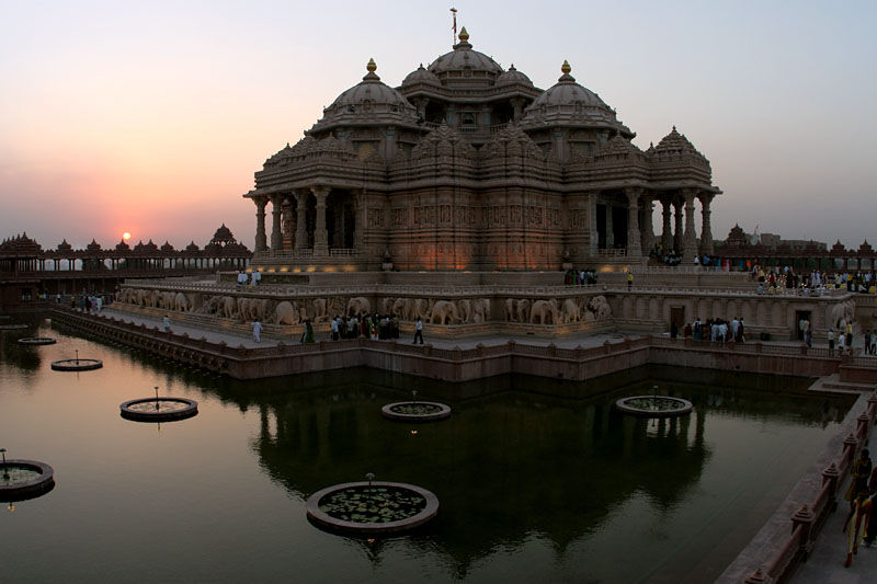 beautiful Sunset view at Akshardham Temple
