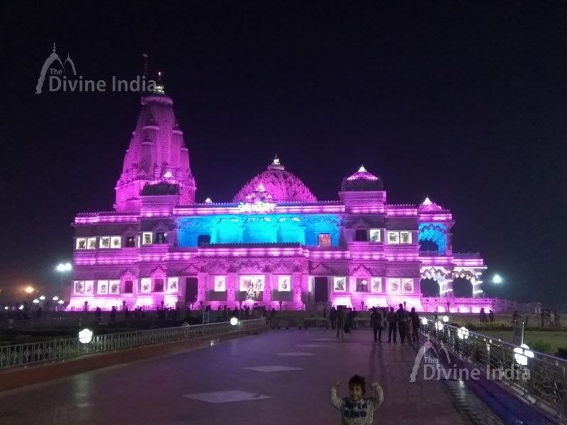 Prem Mandir with Pink Lights