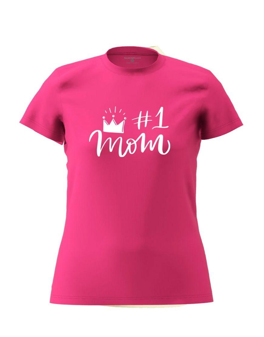 1 mom t shirt fuschia