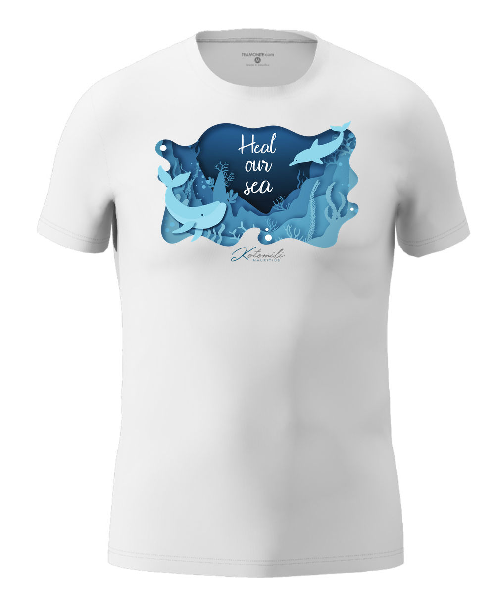 Heal our sea whale & dolphin Men's Modern Fit T-Shirt White