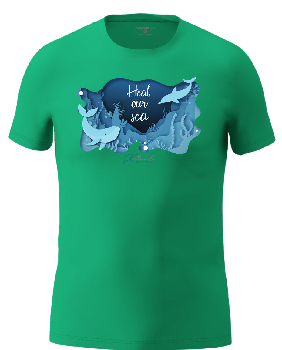 Heal our sea whale & dolphin Men's Modern Fit T-Shirt- Green