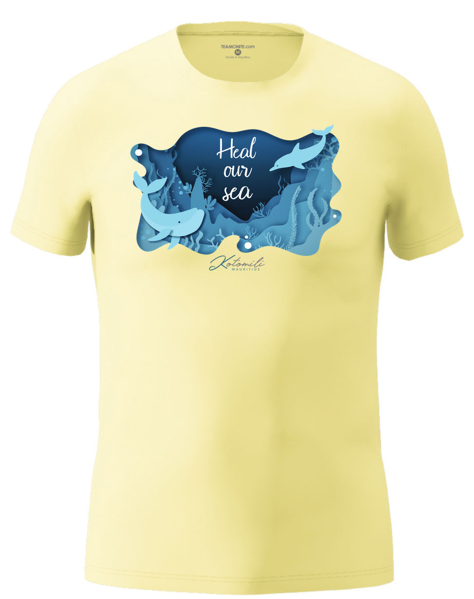 Heal our sea whale & dolphin Men's Modern Fit T-Shirt- Light Yellow