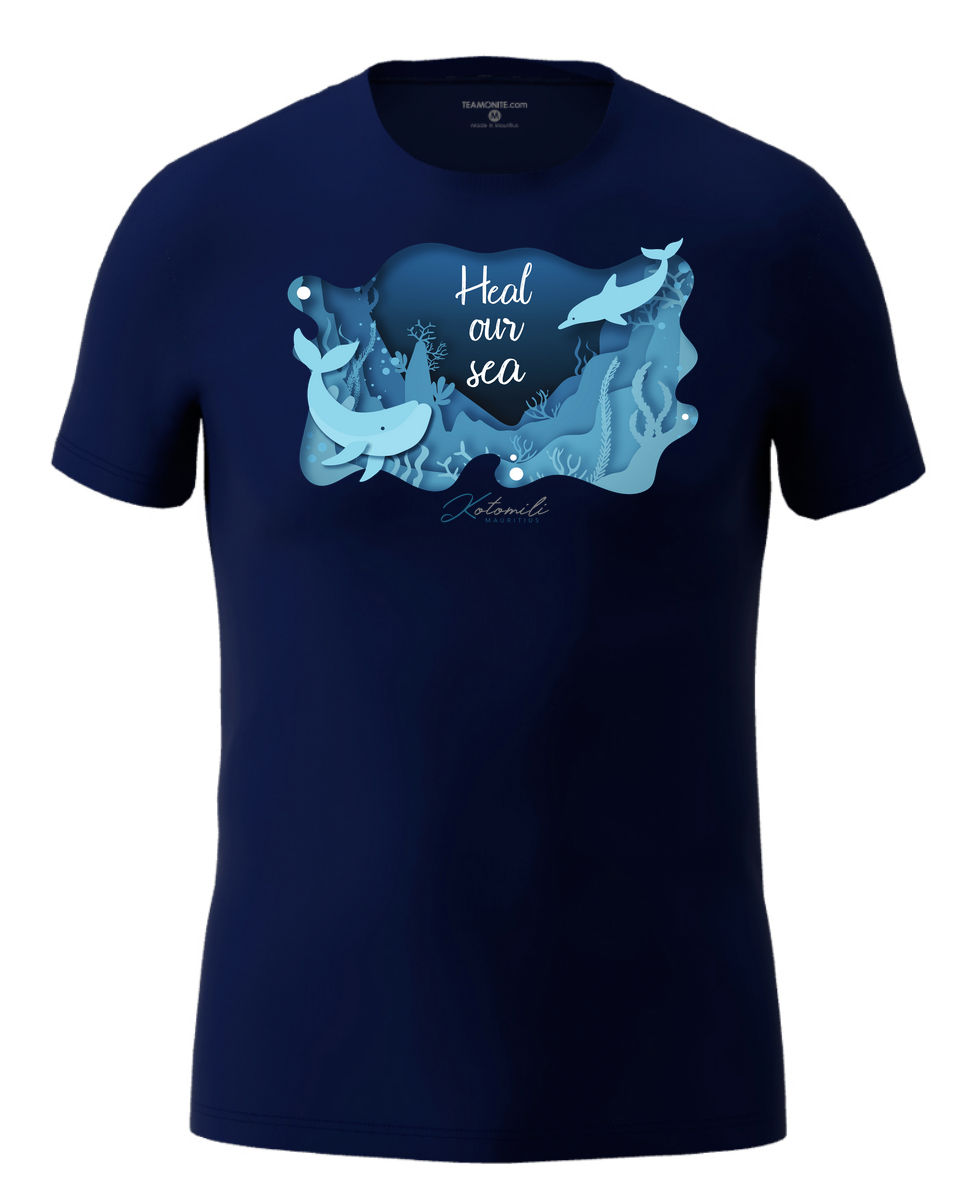 Heal our sea whale & dolphin Men's Modern Fit T-Shirt- Navy