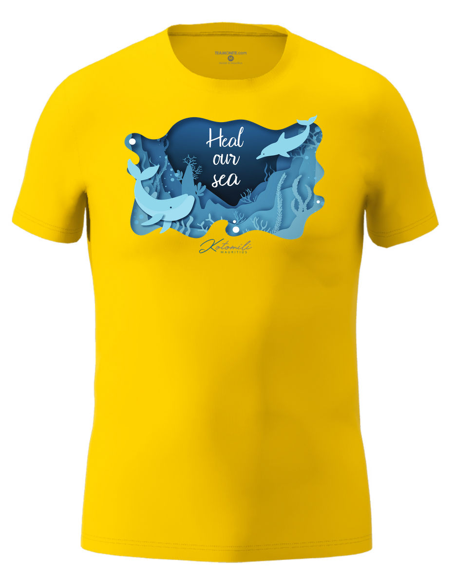 Heal our sea whale & dolphin Men's Modern Fit T-Shirt- Yellow