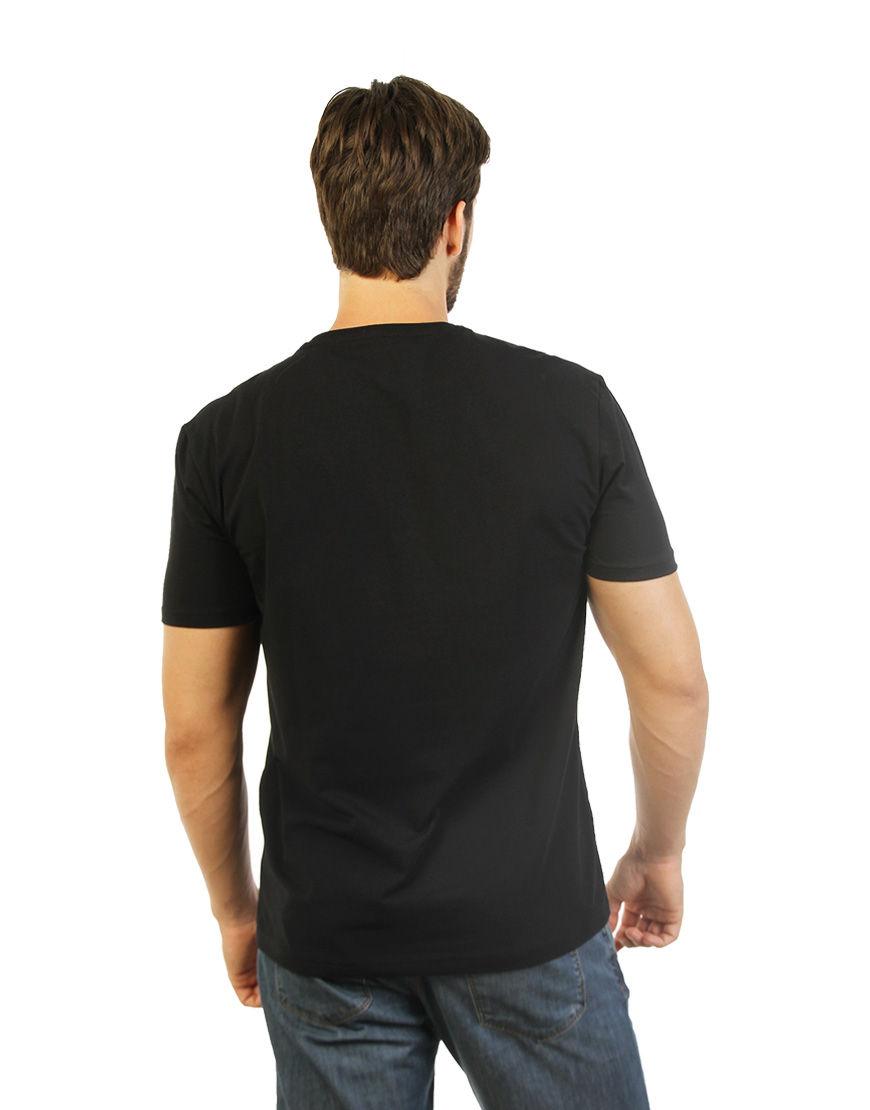 cotton stretch mens t shirt black back