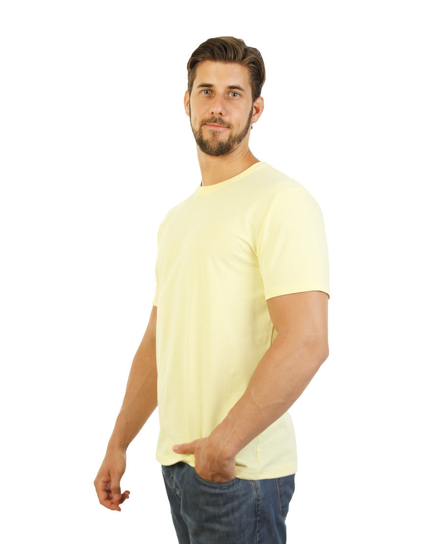 cotton stretch mens t shirt light yellow left